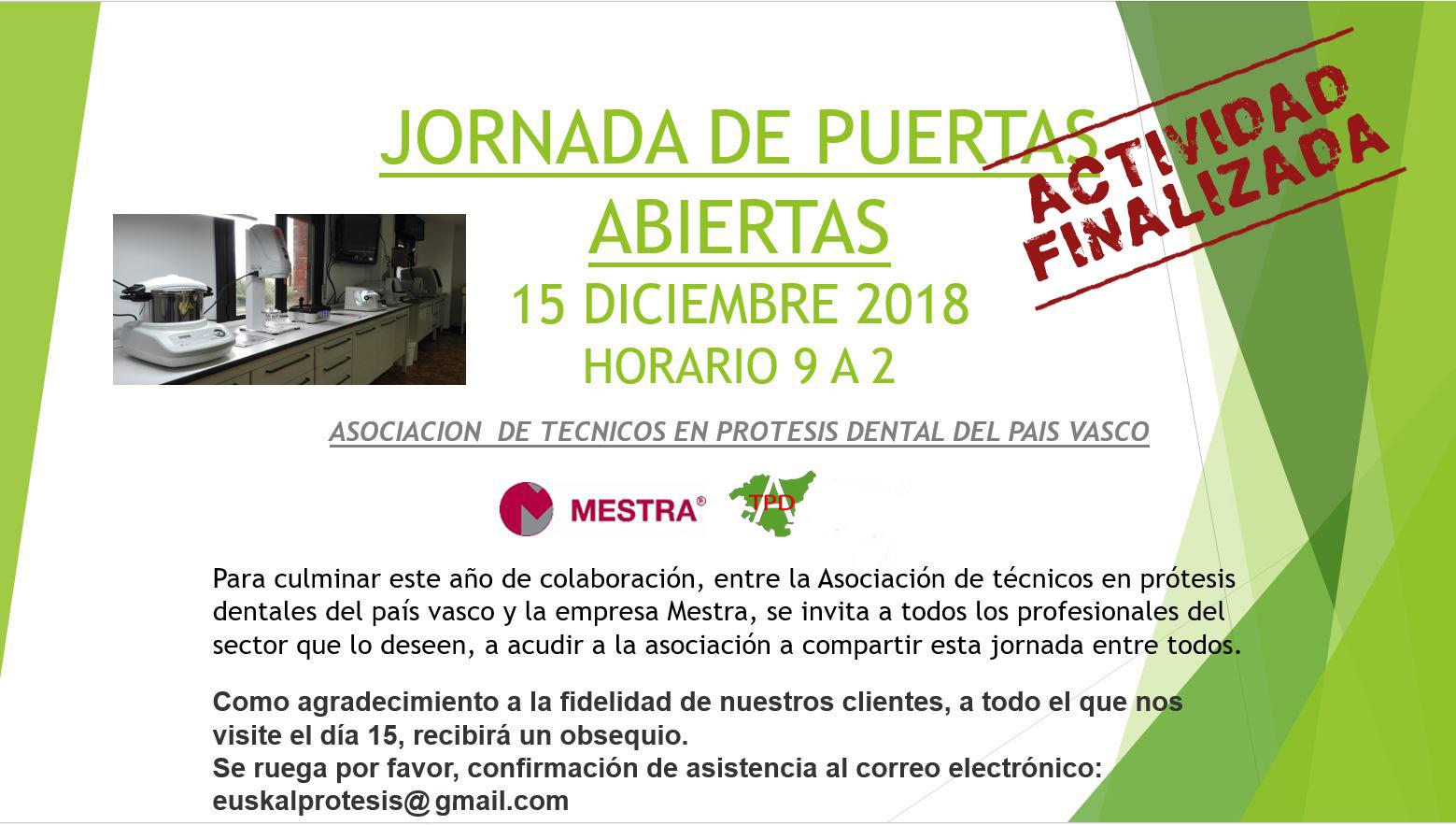 Jornada de Puertas Abiertas Mestra 15 de diciembre de 2018
